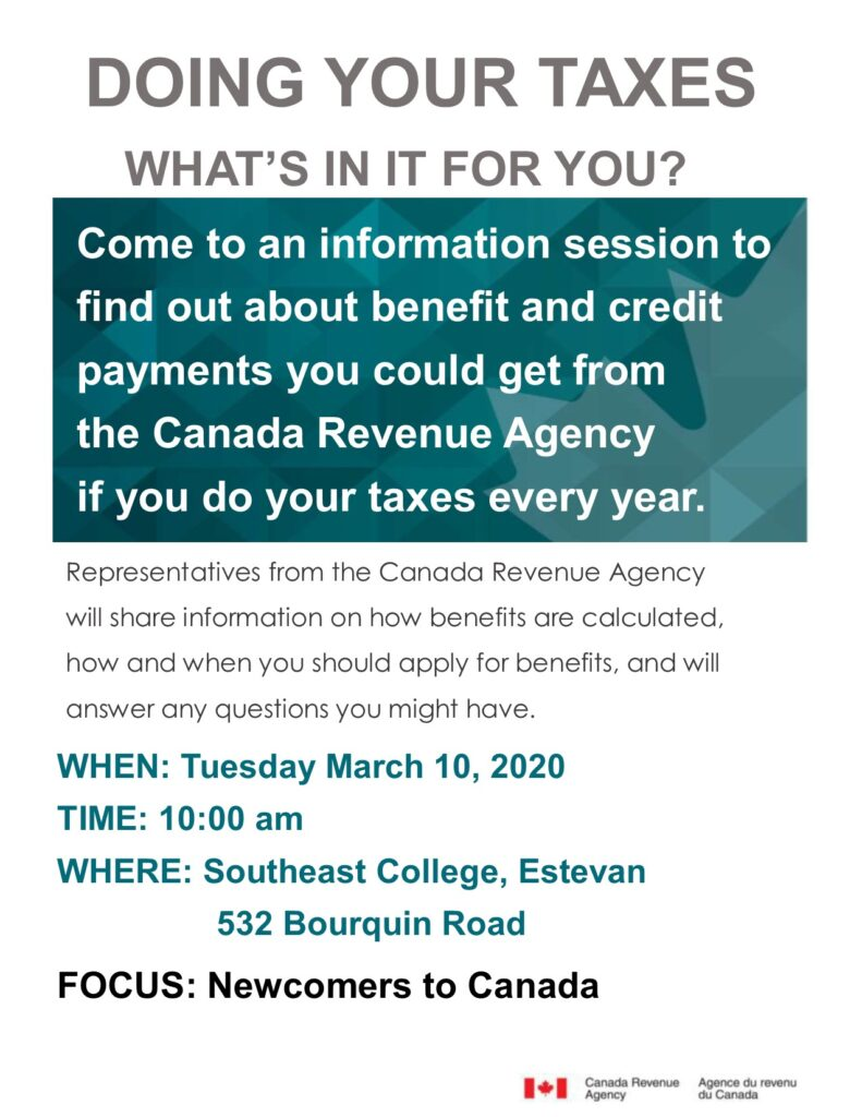 FREE INFORMATION SESSION ON CRA BENEFITS AND CREDITS