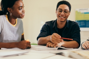 Multi-ethnic students studying together